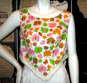 vintage retro butterflies print crop 60s midriff summer top blouse