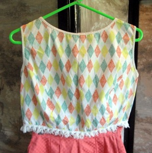 vintage crop top cotton fringed