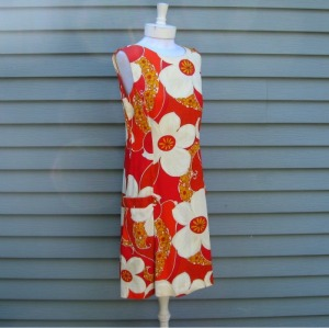 60s mod shift dress red orange flowers Royal Hawaiian scooter retro