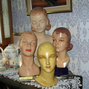 hat displays millinery heads mannequins
