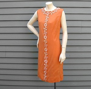 larger size orange linen dress mod summer shift