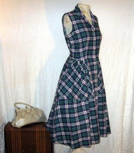 vintage summer large size plus dress blue checked