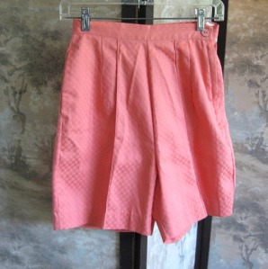 1960s vintage bermuda shorts coral cotton rockabilly pin up small