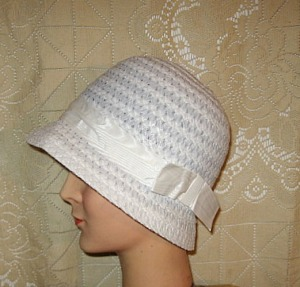 1960s cloche look white hat