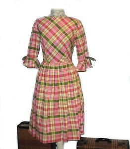 1960s early cotton plaid dress full skirt