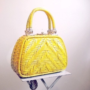 vintage 60s sixties lemon yellow sunshine basket purse bag