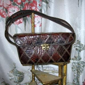 Vintage handbag box shape brown snakeskin purse