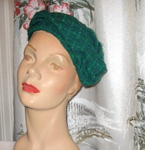 Draped vintage pillbox beret hat in a deep teal shade