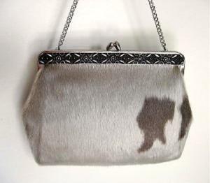 decorative frame victorian look vintage 70s handbag cowhide