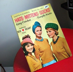 knitting crochet book pattern vintage 60s hats slippers