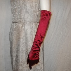 dark red elbow evening opera gloves vintage 80s