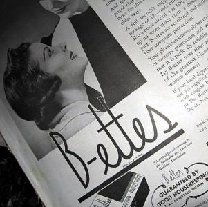 B-ettes feminine product ad vintage 1930s sanitary ad