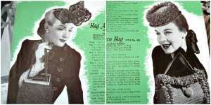 1945 vintage knitting book pattern for hats and handbags accessories. Make your own.