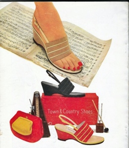 vintage 50s shoe ad charm magazine sandals wedges colorful