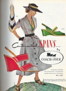 vintage ad for 1950s shoes  fashions in bright colors from 1953